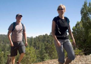 Back backpacks and good hiking shoes for camping at Zion Ponderosa